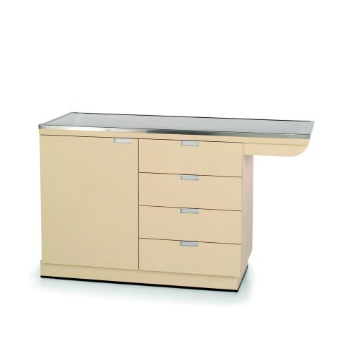 VetLine 58 Inch Cabinet Base Exam Table with Knee Space and Stainless Steel Top